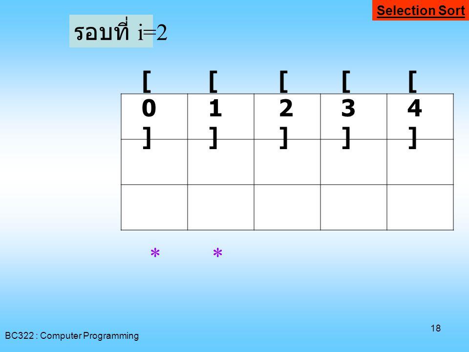 รอบที่ i=2 [0] [1] [2] [3] [4] * * Selection Sort